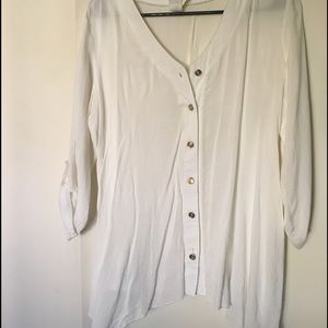 Tops - White Dress Shirt with Tarnished Gold Buttons