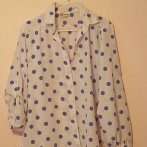 Vintage White blouse with blue polka dots (medium)
