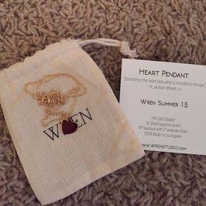 Wren Jewelry - Delicate Wren heart pendant necklace