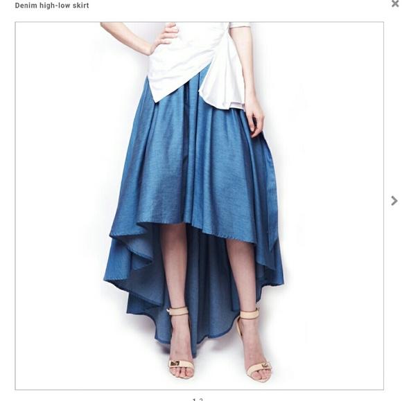 a529a6a716 NWT Gracia denim high low skirt