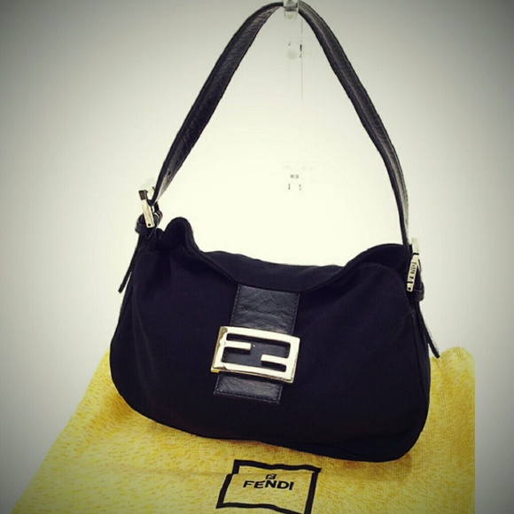 9b58d5d3dc2b FENDI Handbags - Fendi Black Mama Leather Nylon Baguette Bag