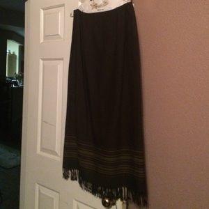 Valerie Stevens Dresses & Skirts - Beautiful dark olive & brown wool skirt