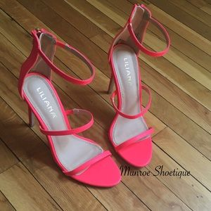 Liliana Shoes - Neon Coral Strappy Open Toe Single Sole Sandals