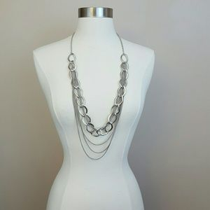 Jewelry - Long silver chain link layered necklace