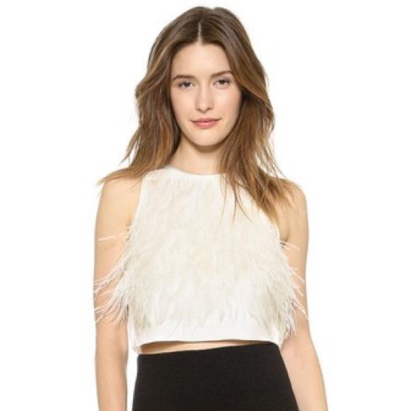 47ffab0380586 Tibi Feathered Crop Top in White