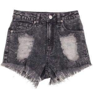 Dark Denim Jeans Acid Wash Cut Off Shorts