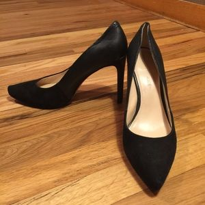 "Black leather and suede BR 4"" heels barely worn"