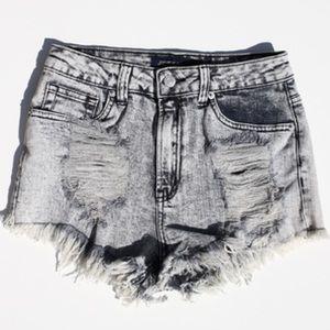 Light Denim Jeans Acid Wash Cut Out Shorts