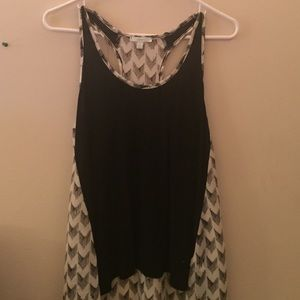 black and white flowy tank top