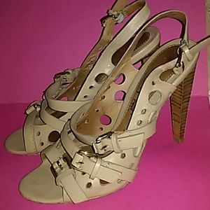L.A.M.B. Shoes - L.A.M.B. TAUPE LEATHER SANDALS