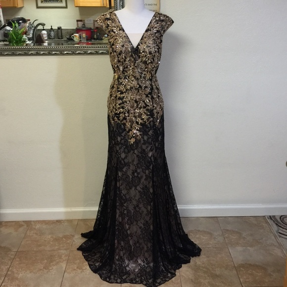 048693f94087 Bicici & Coty Collections Dresses | Gold Black Lace Evening Gown 2xl ...