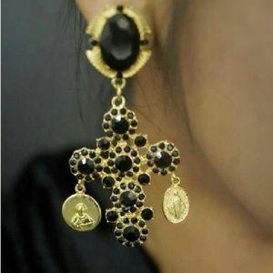 Baroque cross earrings!