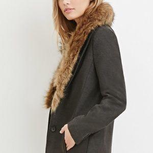 Forever 21 fur collar coat
