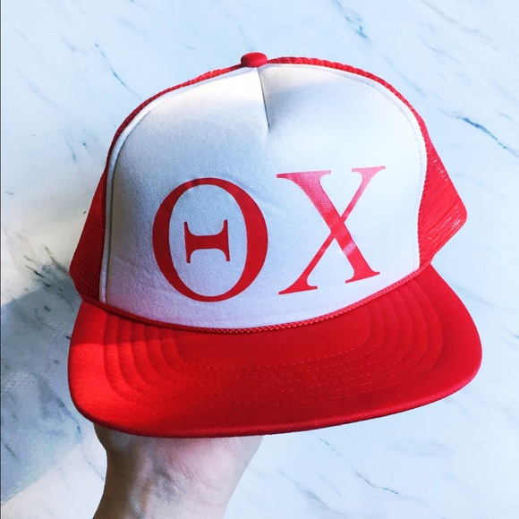 Theta Chi Red and White SnapBack Trucker Hat