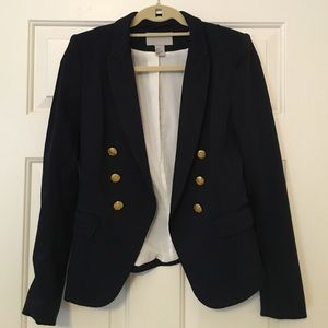 H&M Navy Jersey Military Blazer Size 8