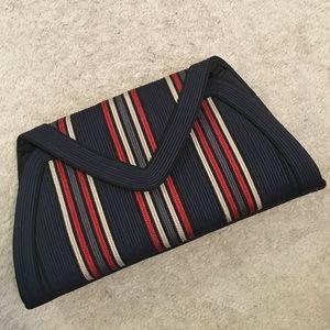 Vintage Corded Stripe Clutch Bag