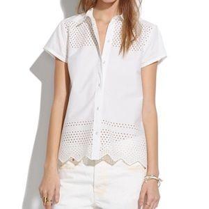 Madewell White Latticework Eyelet Shirt Size XS