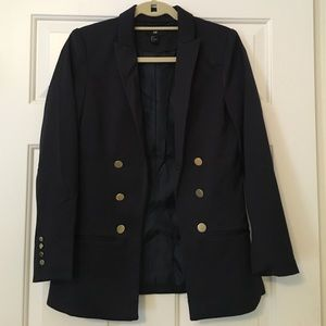 H&M Navy Military Open-Front Blazer Size 6