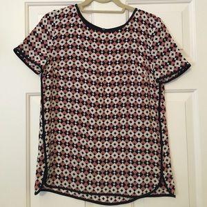 J. Crew 100% Silk Geo Print Blouse Size 2