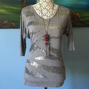 Grey Sequined Tunic Size XS