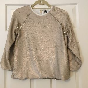 TopShop Champagne Sequin Top Size 4
