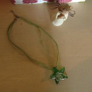 Green and gold glass starfish necklace