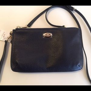 Coach Pebbled Leather Navy Lyla Crossbody Clutch