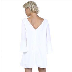 White V-back flowy dress