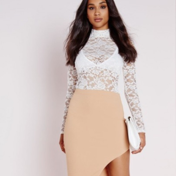 Missguided Tops White Long Sleeve Lace Bodysuit High Neck Poshmark