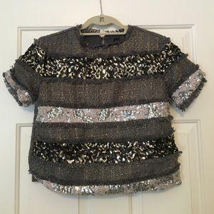English Rose Tweed Sequin Stripe Top Size M