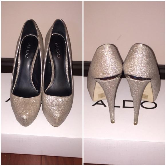 2eba59a59d2 ALDO Champagne Sparkly Platform High Heels. ALDO.  M 56d1ea0b4225be32790063ba. M 56d1ea0d7f0a053fd4034ecd.  M 56d1ea0ff0137d82940350c7