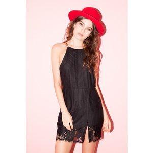 Dresses & Skirts - Black Lace Open Back Slit Dress