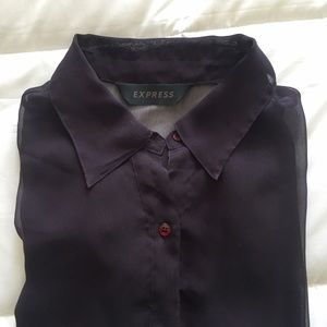 Topshop Tops - Sheer Purple Collared Blouse