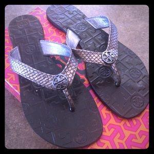 4f4a838a81d2e Tory Burch Shoes - Tory Burch Thora Snake Print Thong Sandal