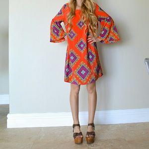 Peach Love California Bell Sleeve Tunic Dress S