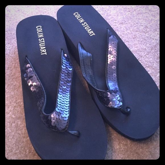 507962a815f0d5 Colin Stuart Shoes - Navy sequin flip flop wedge sandals