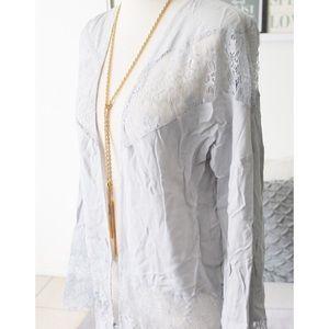 Tobi Tops - Light Grey Lace Kimono