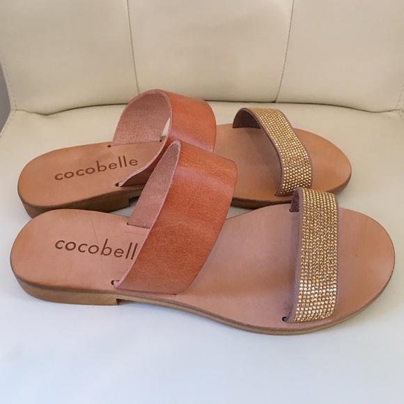 634edb2b0744b8 Cocobelle Gold Leather Slide