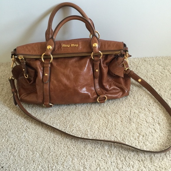 7c3a1502cf9 Miu Miu Bags | Vitello Lux Brown Leather Bow Bag | Poshmark