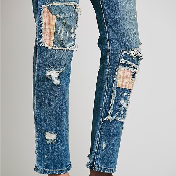 53% off Free People Denim - Free People Patchwork Boyfriend Jeans ...