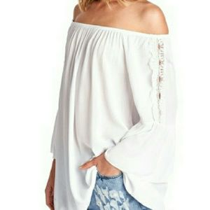 April Spirit Tops - White Off Shoulder 3/4 Lace Bell Sleeve Tunic/Dres