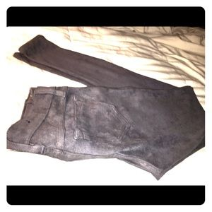 Denim - Reversible grey suede and gunmetal jeggings
