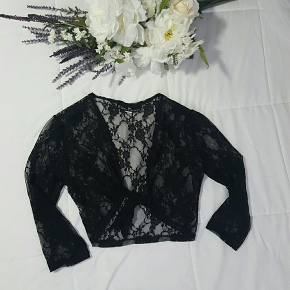 38% off Ellen Parker Tops - Black Lace Cropped Cardigan from K's ...