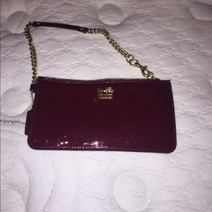 Patent leather wristlet coach