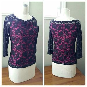 Boston Proper Black Lace with Pink Layer Top