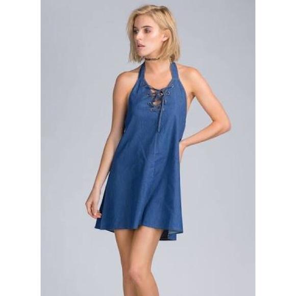 55f750b0d9a NWT Lace Up Halter Denim Jean Mini Shift Dress