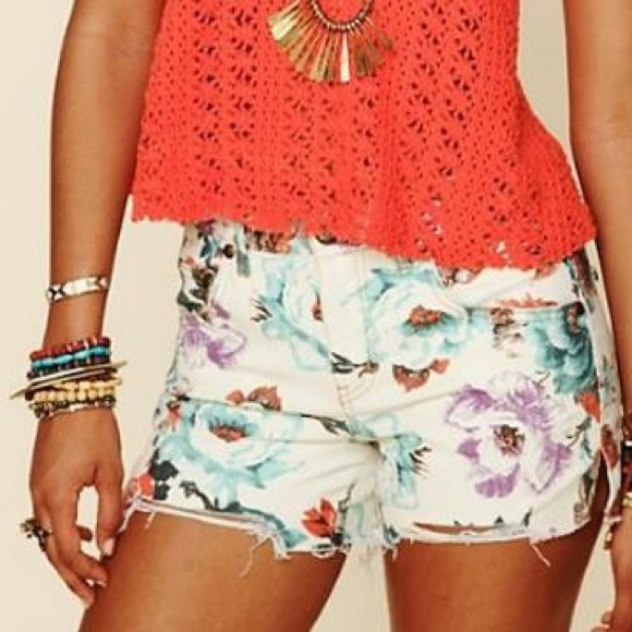 c5a3fc1e91 Free People Pants - Free People Floral Denim Cutoff Shorts