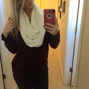 White knit infinity scarf one size merona