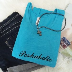 Tops - Poshaholic Embroidered Tank Top/Turq. Price firm.