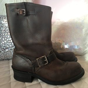 Frye 12R Engineer Brown Boots